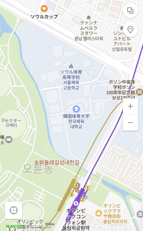 SOUL CUP地図 オリンピック公園駅