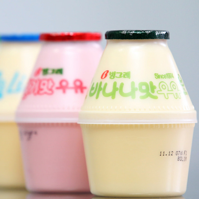 A limited edition flavor of 바나나맛 우유,famous flavored milk in Korea